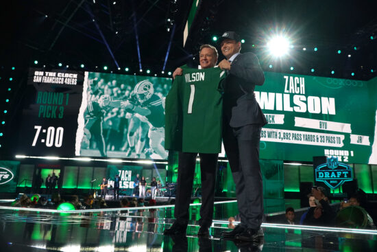 Apr 29, 2021; Cleveland, Ohio, USA; BYU quarterback Zach Wilson poses with NFL commissioner Roger Goodell after being selected as the second pick by the New York Jets during the 2021 NFL Draft  at First Energy Stadium. Mandatory Credit: Kirby Lee-USA TODAY Sports