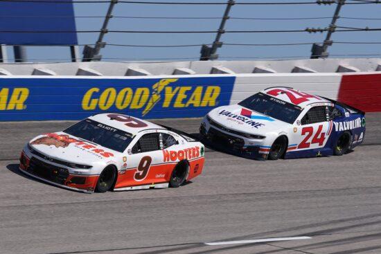 May 9, 2021; Darlington, South Carolina, USA; NASCAR Cup Series driver Chase Elliott (9) races William Bryon (24) during the Goodyear 400 at Darlington Raceway. Mandatory Credit: Jasen Vinlove-USA TODAY Sports