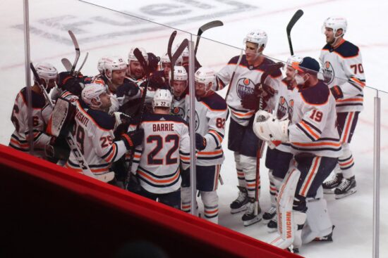 May 12, 2021; Montreal, Quebec, CAN; Edmonton Oilers players celebrate their win against Montreal Canadiens at Bell Centre. Mandatory Credit: Jean-Yves Ahern-USA TODAY Sports