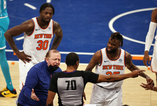 May 15, 2021; New York, New York, USA;  Head coach Tom Thibodeau of the New York Knicks reacts after the ball is given to Charlotte Hornets with 11 seconds left in regulation as Julius Randle #30 and Reggie Bullock #25 of the New York Knicks also respond in the fourth quarter at Madison Square Garden on May 15, 2021 in New York City. Mandatory Credit: Elsa/Pool Photo-USA TODAY Sports