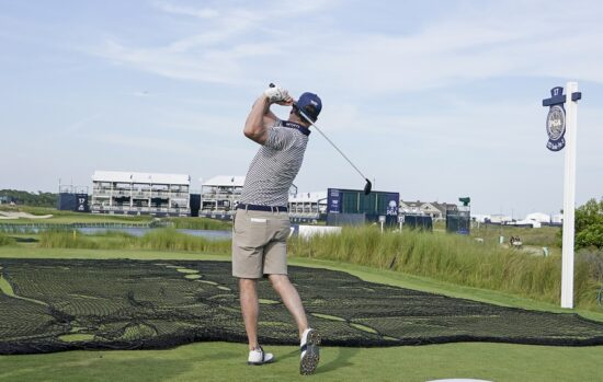 May 18, 2021; Kiawah Island, South Carolina, USA; Zach Johnson hits from the tee on 17 during a practice round for the PGA Championship golf tournament at Ocean Course at Kiawah Island Resort. Mandatory Credit: David Yeazell-USA TODAY Sports