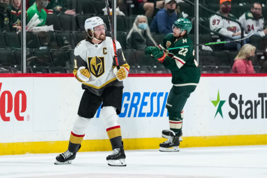May 20, 2021; Saint Paul, Minnesota, USA; Vegas Golden Knights forward Mark Stone (61) celebrates his empty net goal during the third period in game three of the first round of the 2021 Stanley Cup Playoffs against the Minnesota Wild at Xcel Energy Center. Mandatory Credit: Brace Hemmelgarn-USA TODAY Sports