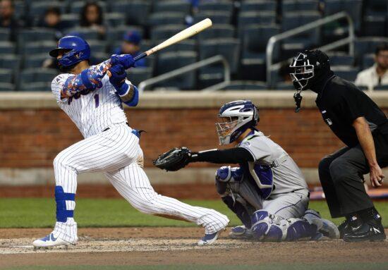 May 25, 2021; New York City, New York, USA; New York Mets third baseman Jonathan Villar (1) doubles against the Colorado Rockies during the third inning at Citi Field. Mandatory Credit: Andy Marlin-USA TODAY Sports