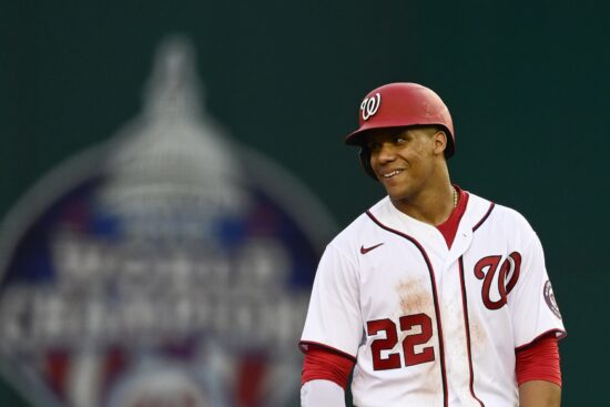 May 26, 2021; Washington, District of Columbia, USA;  Washington Nationals left fielder Juan Soto (22) stands on the field after hitting a first inning single against the Cincinnati Reds at Nationals Park. Mandatory Credit: Tommy Gilligan-USA TODAY Sports