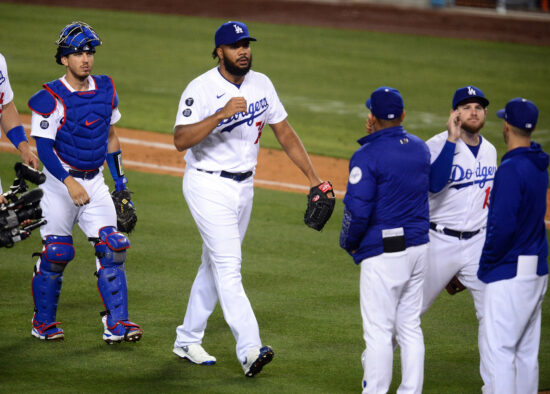 May 27, 2021; Los Angeles, California, USA; Los Angeles Dodgers relief pitcher Kenley Jansen (74) celebrates the 4-3 victory against the San Francisco Giants at Dodger Stadium. Mandatory Credit: Gary A. Vasquez-USA TODAY Sports