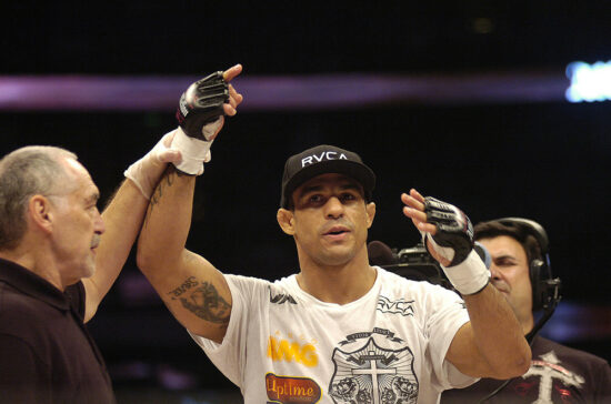 """Jan 24 2009; Anaheim California USA; Vitor Belfort during the MMA Middleweight bout at AFFLICTION """"Day of Reckoning"""" held at the Honda Center, Anaheim California."""