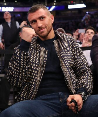 Dec 6, 2017; New York, NY, USA; WBO Super Featherweight champion Vasyl Lomachenko sits court side during the game between the New York Knicks and the Memphis Grizzlies at Madison Square Garden. Mandatory Credit: Anthony Gruppuso-USA TODAY Sports