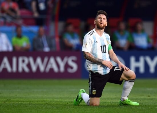 Jun 30, 2018; Kazan, Russia; Argentina forward Lionel Messi (10) reacts in the round of 16 game against France during the FIFA World Cup 2018 at Kazan Stadium. Mandatory Credit: Tim Groothuis/Witters Sport via USA TODAY Sports