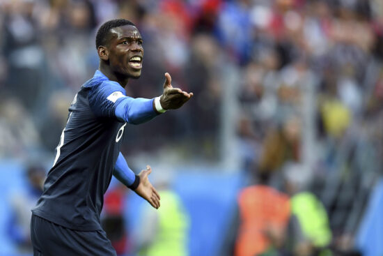 July 10, 2018; St. Petersburg, Russia; France midfielder Paul Pogba (6) reacts during the first half in the semifinals of the FIFA World Cup 2018 against Belgium at Saint Petersburg Stadium. Mandatory Credit: Tim Groothuis/Witters Sport via USA TODAY Sports