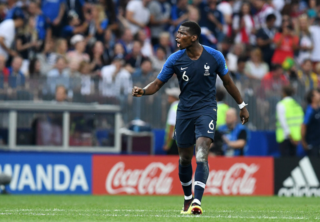 July 15, 2018; Moscow, Russia; France midfielder Paul Pogba (6) celebrates after scoring a goal against Croatia in the final of the FIFA World Cup 2018 at Luzhniki Stadium. Mandatory Credit: Tim Groothuis/Witters Sport via USA TODAY Sports