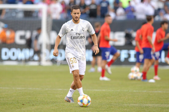 Jul 26, 2019; East Rutherford, NJ, USA; Real Madrid forward Eden Hazard (50) warms up before an International Champions Cup soccer series match against Atletico de Madrid at MetLife Stadium. Mandatory Credit: Brad Penner-USA TODAY Sports