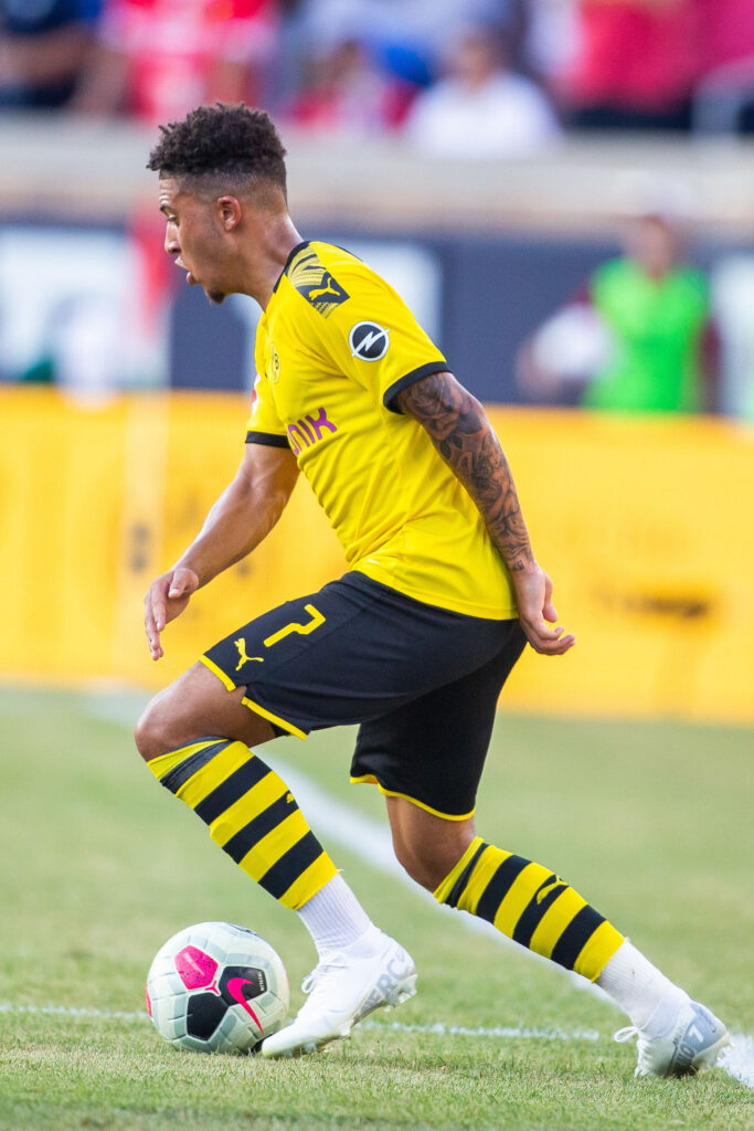 Jul 19, 2019; South Bend, IN, USA; Borussia Dortmund midfielder Jadon Sancho (7) dribbles the ball in the first half of a pre-season preparation soccer match against the Liverpool at Notre Dame. Mandatory Credit: Trevor Ruszkowski-USA TODAY Sports