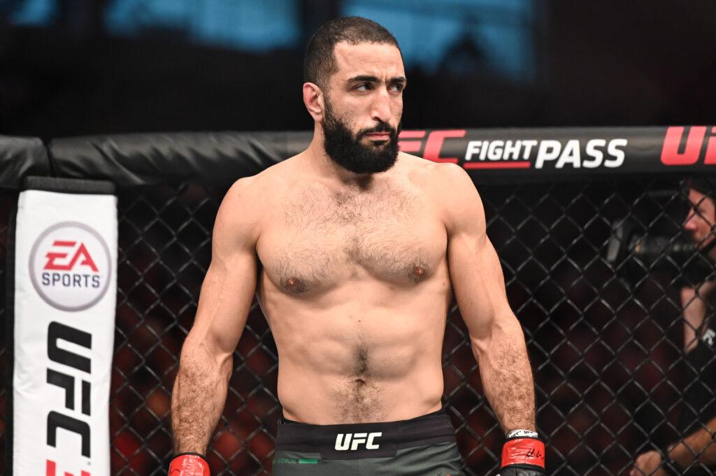 Sep 7, 2019; Abu Dhabi, UAE; Belal Muhammad (red gloves) fights Takashi Sato (not pictured) during UFC 242 at The Arena. Mandatory Credit: Per Haljestam-USA TODAY Sports