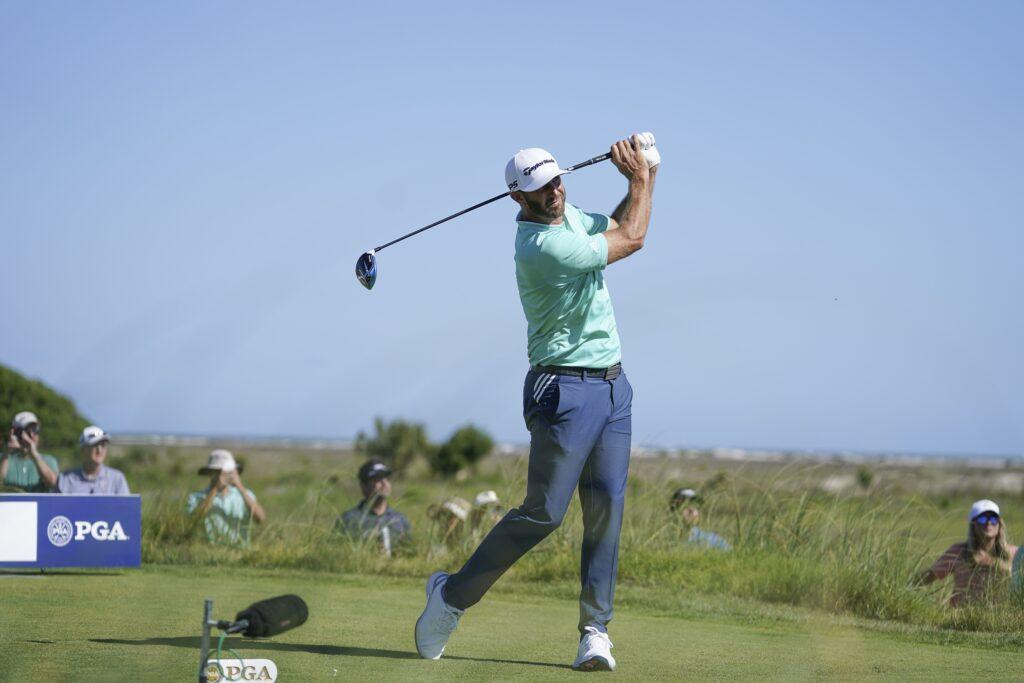 May 20, 2021; Kiawah Island, South Carolina, USA; Dustin Johnson hits his tee shot on the 9th hole during the first round of the PGA Championship golf tournament. Mandatory Credit: David Yeazell-USA TODAY Sports