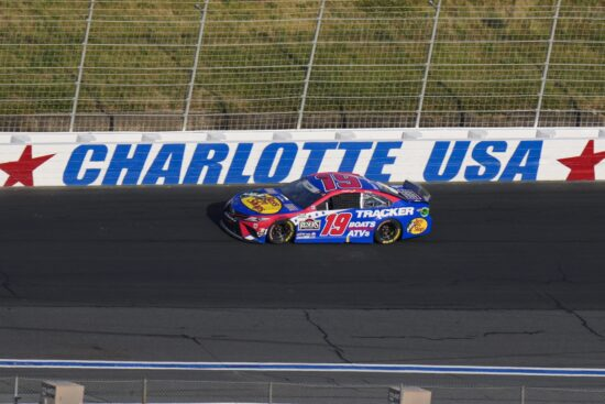 May 30, 2021; Concord, North Carolina, USA; NASCAR Cup Series driver Martin Truex Jr. (19) on the back straight during the Coca-Cola 600 at Charlotte Motor Speedway. Mandatory Credit: Jim Dedmon-USA TODAY Sports