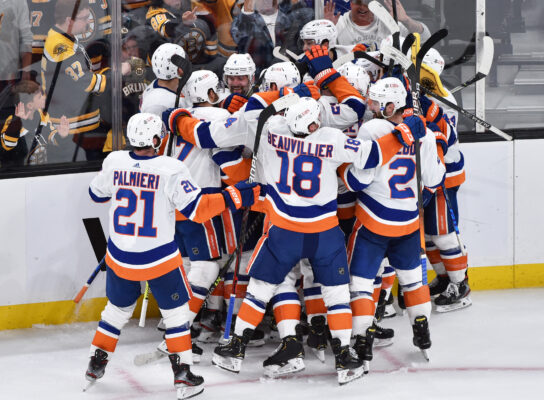 May 31, 2021; Boston, Massachusetts, USA; The New York Islanders celebrate after defeating the Boston Bruins in overtime in game two of the second round of the 2021 Stanley Cup Playoffs at TD Garden. Mandatory Credit: Bob DeChiara-USA TODAY Sports