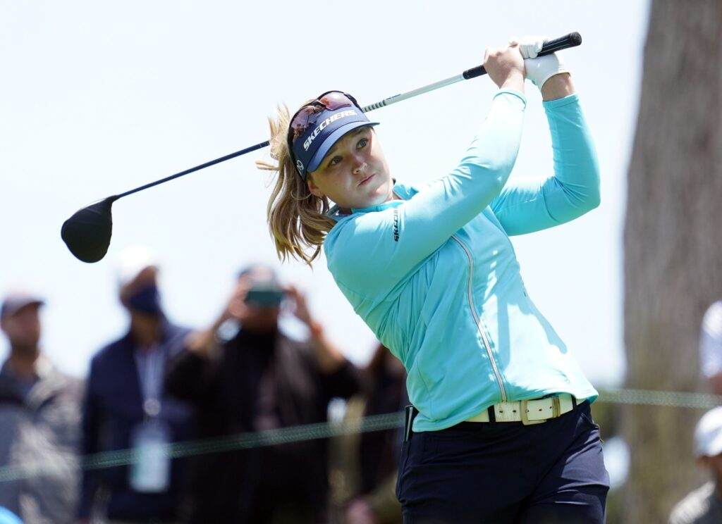 Jun 5, 2021; San Francisco, California, USA; Brooke Henderson plays her shot from the 11th tee during the third round of the U.S. Women's Open golf tournament at The Olympic Club. Mandatory Credit: Kyle Terada-USA TODAY Sports