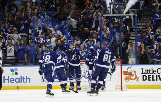 Jun 5, 2021; Tampa, Florida, USA; Tampa Bay Lightning defenseman Victor Hedman (77) and teammates celebrate as they beat the Carolina Hurricanes during the third period in game four of the second round of the 2021 Stanley Cup Playoffs at Amalie Arena. Mandatory Credit: Kim Klement-USA TODAY Sports