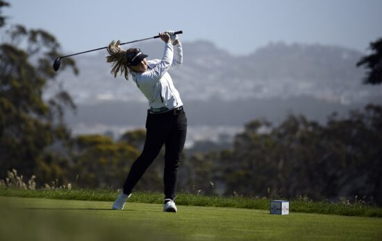 Jun 6, 2021; San Francisco, California, USA; Brooke Henderson plays her shot from the second tee during the final round of the U.S. Women's Open golf tournament at The Olympic Club. Mandatory Credit: Kelvin Kuo-USA TODAY Sports