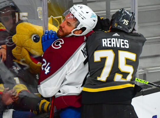 Jun 6, 2021; Las Vegas, Nevada, USA; Vegas Golden Knights right wing Ryan Reaves (75) checks Colorado Avalanche defenseman Patrik Nemeth (24) during the third period of game four of the second round of the 2021 Stanley Cup Playoffs at T-Mobile Arena. Mandatory Credit: Stephen R. Sylvanie-USA TODAY Sports