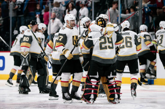 Jun 8, 2021; Denver, Colorado, USA; Vegas Golden Knights right wing Keegan Kolesar (55) and left wing Max Pacioretty (67) celebrate with goaltender Marc-Andre Fleury (29) after the game against the Colorado Avalanche in game five of the second round of the 2021 Stanley Cup Playoffs at Ball Arena. Mandatory Credit: Isaiah J. Downing-USA TODAY Sports