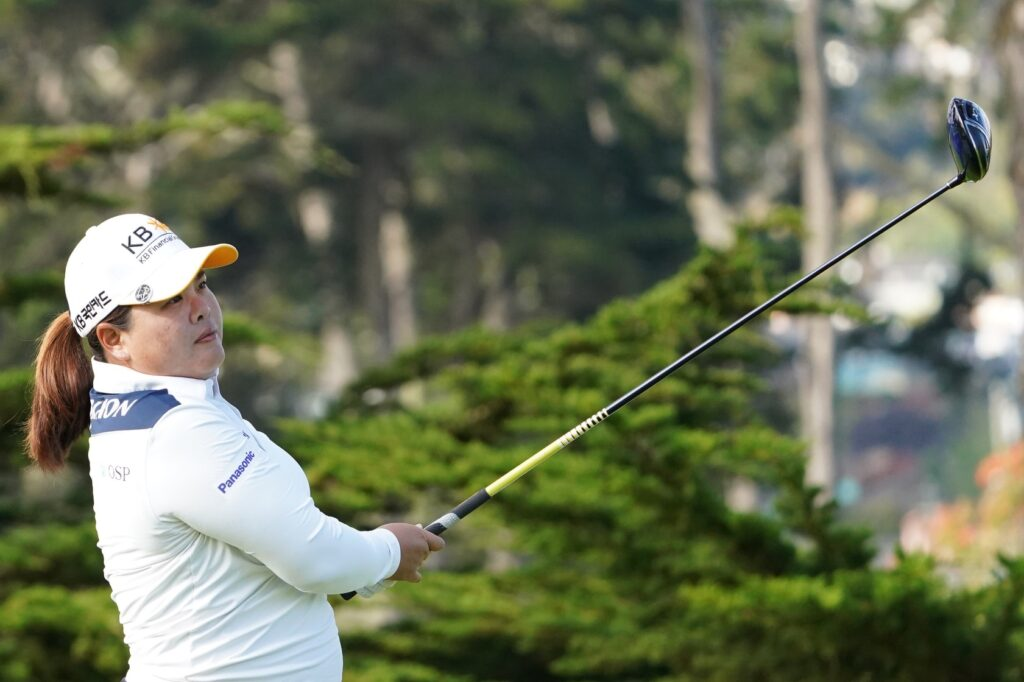 June 11, 2021; Daly City, California, USA; Inbee Park hits a tee shot on the 11th hole during the second round of the LPGA MEDIHEAL Championship golf tournament at Lake Merced Golf Club. Mandatory Credit: Kyle Terada-USA TODAY Sports