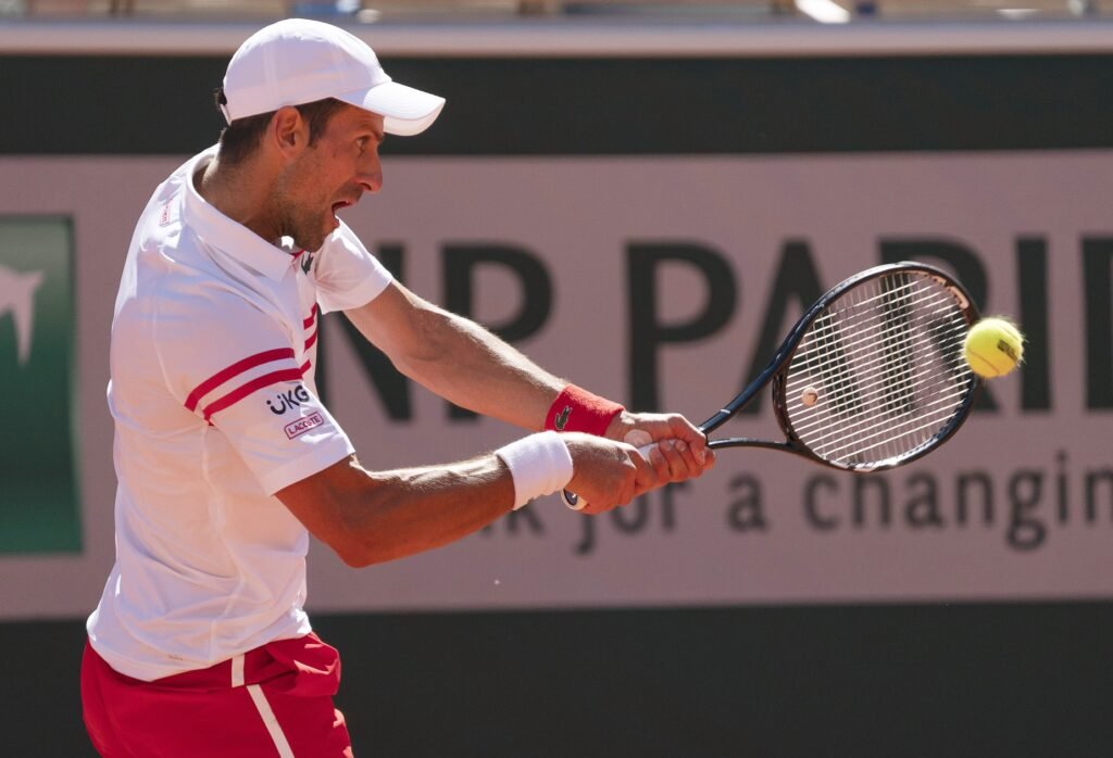 Jun 13, 2021; Paris, France; Novak Djokovic (SRB) in action during the men's final against Stefanos Tsitsipas (GRE) on day 15 of the French Open at Stade Roland Garros. Mandatory Credit: Susan Mullane-USA TODAY Sports