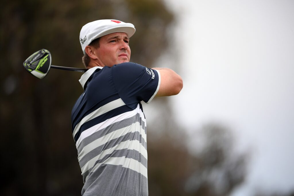 Jun 20, 2021; San Diego, California, USA; Bryson DeChambeau plays his shot from the 12th tee during the final round of the U.S. Open golf tournament at Torrey Pines Golf Course. Mandatory Credit: Orlando Ramirez-USA TODAY Sports