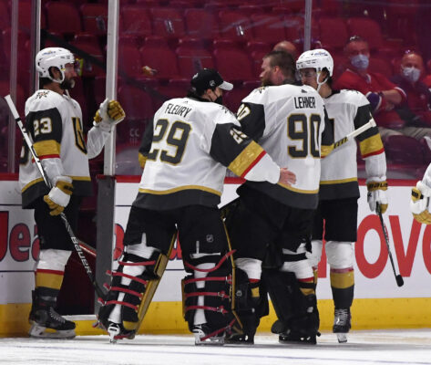 Jun 20, 2021; Montreal, Quebec, CAN; Vegas Golden Knights goalie Marc-Andre Fleury (29) and goalie Robin Lehner (90) celebrate the win against the Montreal Canadiens in game four of the 2021 Stanley Cup Semifinals at the Bell Centre. Mandatory Credit: Eric Bolte-USA TODAY Sports