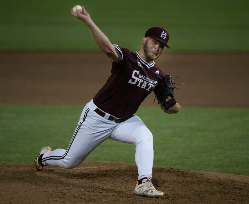 Mississippi St. pitcher Landon Sims (23) pitches against Virginia in the ninth inning during game eight in the NCAA Men's College World Series at TD Ameritrade Park Tuesday, June 22, 2021 in Omaha, Neb.  Miss St Virginia 032