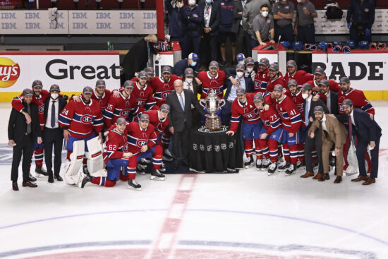 Jun 24, 2021; Montreal, Quebec, CAN; Montreal Canadiens team receives the Clarence S. Campbell Bowl after they won against Vegas Golden Knights in game six of the 2021 Stanley Cup Semifinals at Bell Centre. Mandatory Credit: Jean-Yves Ahern-USA TODAY Sports