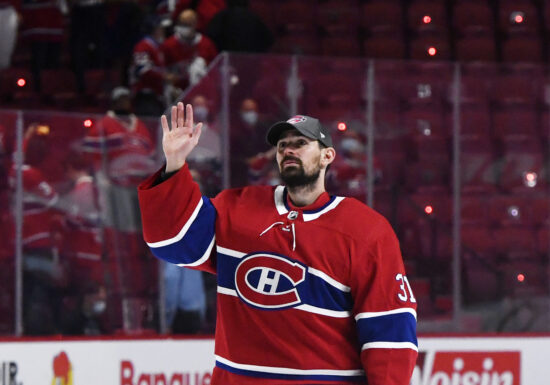 Jun 24, 2021; Montreal, Quebec, CAN; Montreal Canadiens goalie Carey Price (31) waves to the crowd after defeating the Vegas Golden Knights in game six of the 2021 Stanley Cup Semifinals at the Bell Centre. Mandatory Credit: Eric Bolte-USA TODAY Sports