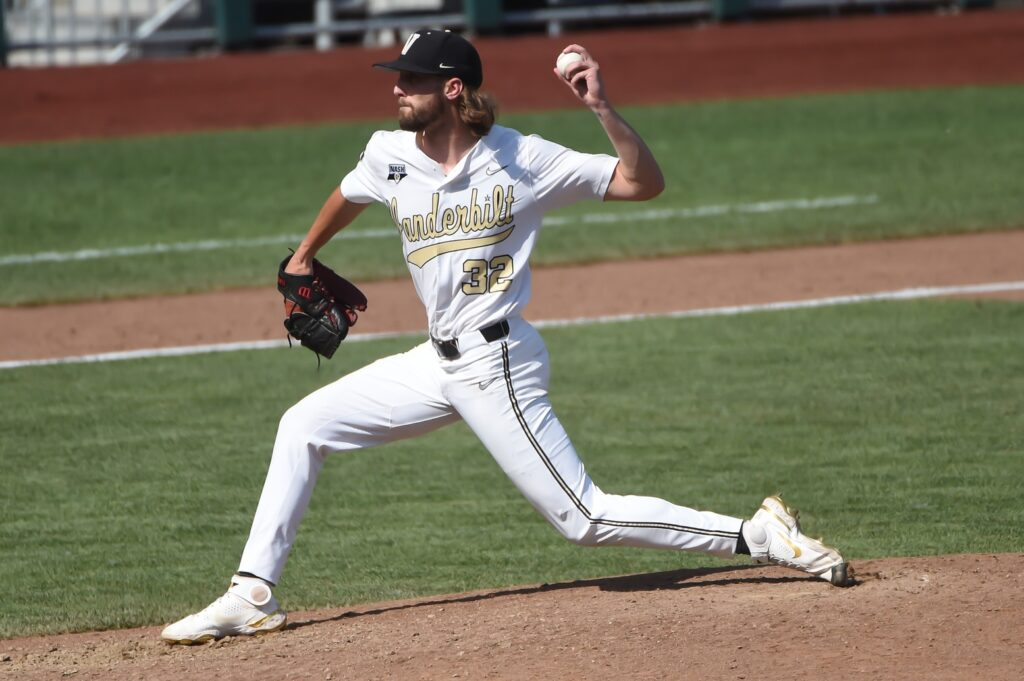 Jun 25, 2021; Omaha, Nebraska, USA;  Vanderbilt Commodores pitcher Hugh Fisher (32) pitches against the NC State Wolfpack in the seventh inning at TD Ameritrade Park. Mandatory Credit: Steven Branscombe-USA TODAY Sports