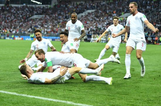 July 11, 2018; Moscow, Russia; England forward Harry Kane (9) celebrates the goal scored by defender Kieran Trippier (12) against Croatia during the first half in the semifinals of the FIFA World Cup 2018 at Saint Petersburg Stadium. Mandatory Credit: Tim Groothuis/Witters Sport via USA TODAY Sports