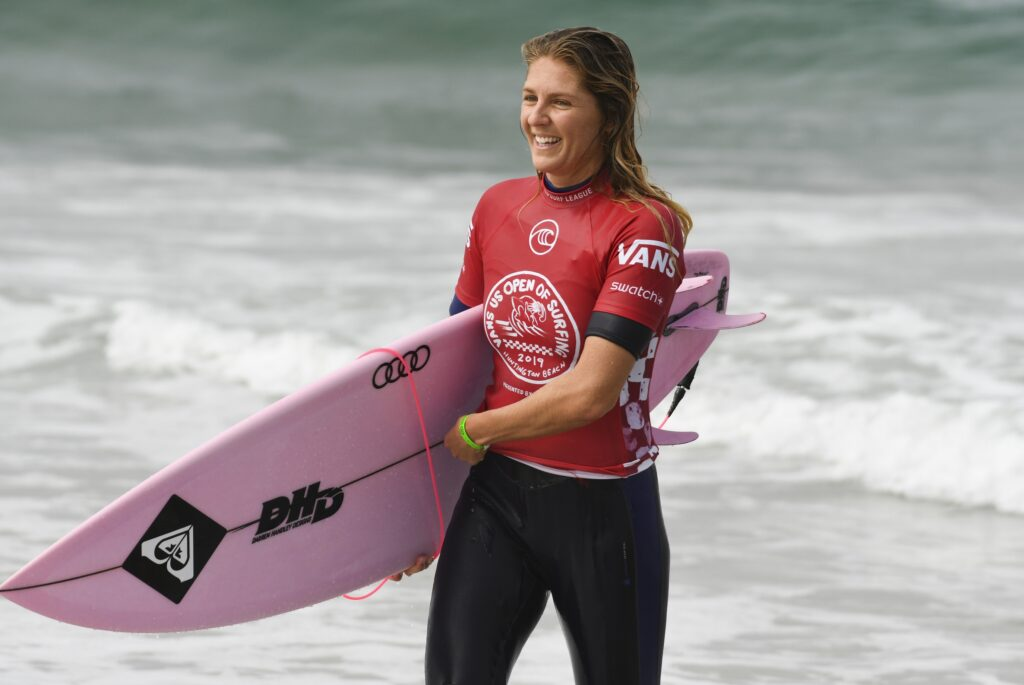 Aug 1, 2019; Huntington Beach, CA, USA; Stephanie Gilmore, of Australia, comes out of the water after completing competition during Round 3 of the WomenÕs Qualifying Series of the Vans US Open of Surfing competition  at Surf Stadium. Mandatory Credit: Robert Hanashiro-USA TODAY Sports