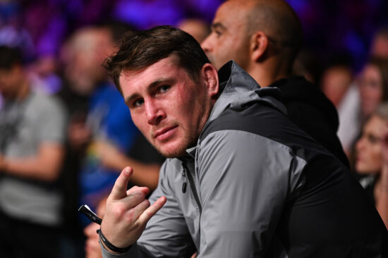 Sep 28, 2019; Copenhagen, DEN; MMA fighter Darren Till reacts during a bout between Gunnar Nelson (not pictured) and Gilbert Burns (not pictured) during UFC Fight Night at Royal Arena. Mandatory Credit: Per Haljestam-USA TODAY Sports