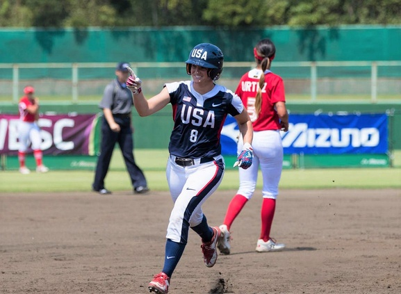Haylie McCleney rounds the bases after hitting a home run. The FAMU assistant strength and conditioning coach will compete on the national softball team during the 2020 Summer Olympics.  Jh180490 2