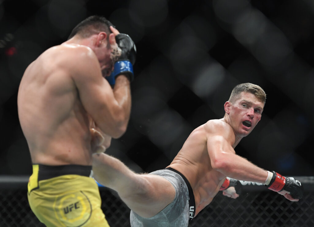 Nov 2, 2019; New York, NY, USA; Stephen Thompson (red gloves) fights Vicente Luque (blue gloves) during UFC 244 at Madison Square Garden. Mandatory Credit: Sarah Stier-USA TODAY Sports