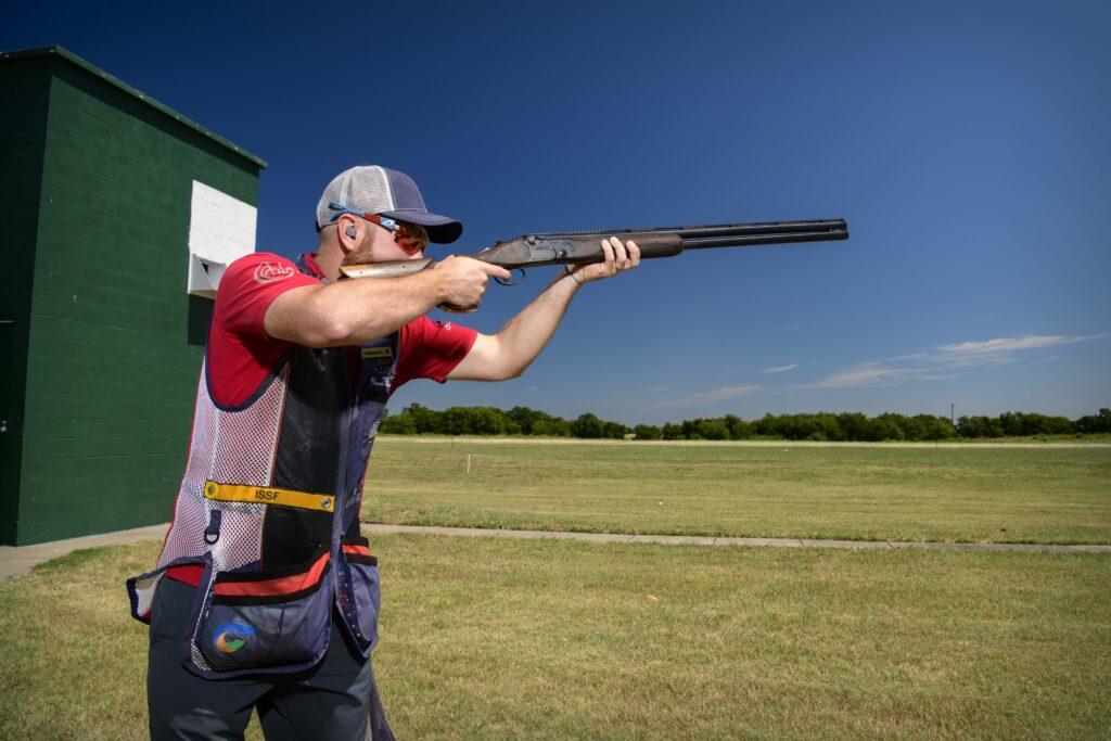 Jun 17, 2020; Fort Worth, Texas, USA; Team USA skeet shooter Vincent Hancock trains at the Fort Worth Trap & Skeet Club. Mandatory Credit: Jerome Miron-USA TODAY Sports