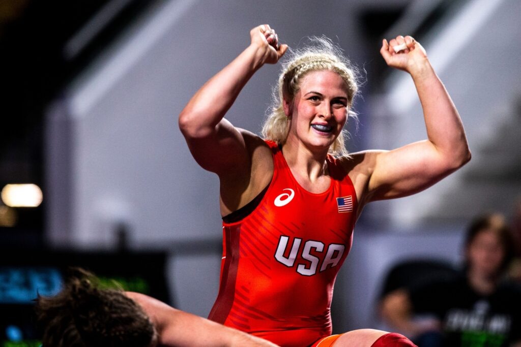 Adeline Gray celebrates after winning the 76 kg final during the USA Wrestling Senior National Championships, Saturday, Oct. 10, 2020, at the Xtream Arena in Coralville, Iowa.  201010 Usa Sn Nat Wrestle 011 Jpg