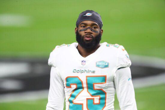 Dec 26, 2020; Paradise, Nevada, USA; Miami Dolphins cornerback Xavien Howard (25) against the Las Vegas Raiders at Allegiant Stadium. Mandatory Credit: Mark J. Rebilas-USA TODAY Sports