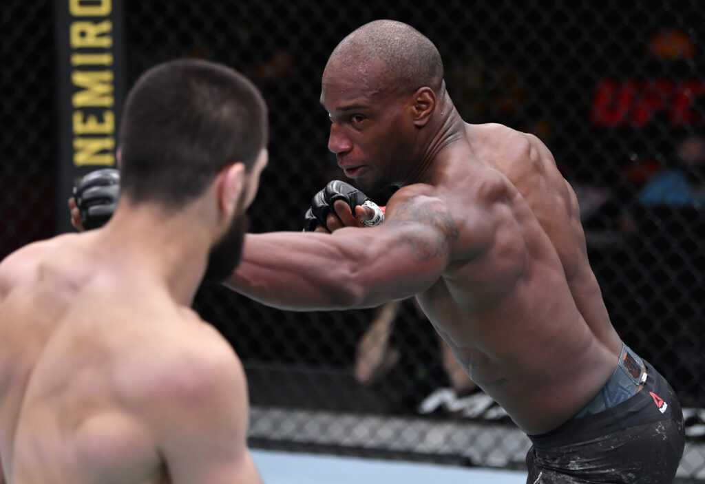 Mar 27, 2021; Las Vegas, NV, USA;   Jared Gooden punches Abubakar Nurmagomedov of Russia in their welterweight fight during the UFC 260 event at UFC APEX on March 27, 2021 in Las Vegas, Nevada. Mandatory Credit: Jeff Bottari/Handout Photo via USA TODAY Sports