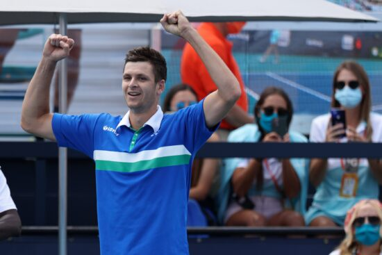 Apr 4, 2021; Miami, Florida, USA; Hubert Hurkacz of Poland celebrates after his match against Jannik Sinner of Italy (not pictured) in the men's singles final in the Miami Open at Hard Rock Stadium. Mandatory Credit: Geoff Burke-USA TODAY Sports