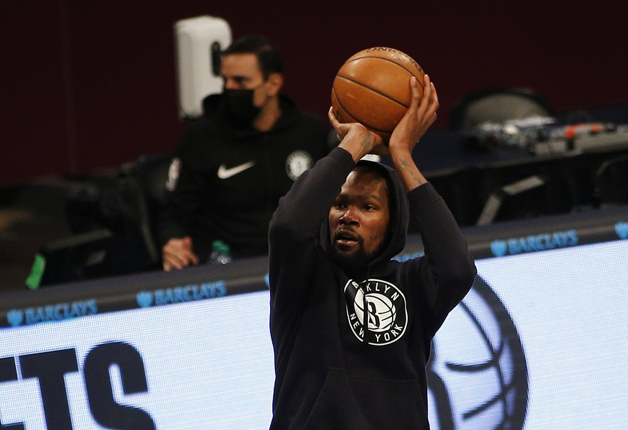Apr 16, 2021; Brooklyn, New York, USA; Brooklyn Nets forward Kevin Durant (7) takes a shot during warmups prior to the game against the Charlotte Hornets at Barclays Center. Mandatory Credit: Andy Marlin-USA TODAY Sports