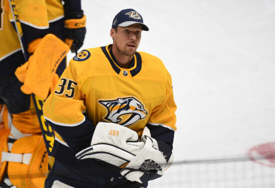 May 27, 2021; Nashville, Tennessee, USA; Nashville Predators goaltender Pekka Rinne (35) looks to the crowd as he leaves the ice after an overtime loss against the Carolina Hurricanes in game six of the first round of the 2021 Stanley Cup Playoffs at Bridgestone Arena. Mandatory Credit: Christopher Hanewinckel-USA TODAY Sports