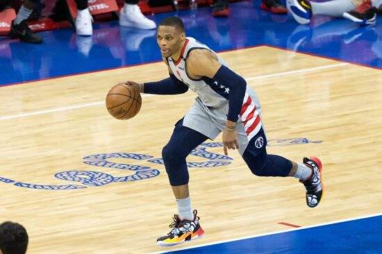 Jun 2, 2021; Philadelphia, Pennsylvania, USA; Washington Wizards guard Russell Westbrook (4) dribbles the ball up court against the Philadelphia 76ers during the fourth quarter in game five of the first round of the 2021 NBA Playoffs at Wells Fargo Center. Mandatory Credit: Bill Streicher-USA TODAY Sports