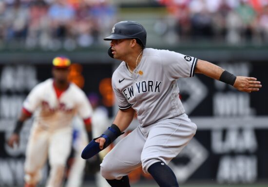 Jun 13, 2021; Philadelphia, Pennsylvania, USA; New York Yankees second baseman Rougned Odor (18) gets caught in a run-down in the seventh inning against the Philadelphia Phillies at Citizens Bank Park. Mandatory Credit: Kyle Ross-USA TODAY Sports