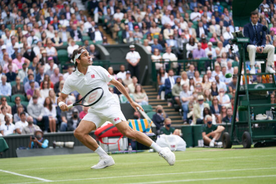 Jul 7, 2021; London, United Kingdom; Roger Federer (SUI) plays against Hubert Hurkacz (POL) in the quarter finals at All England Lawn Tennis and Croquet Club. Mandatory Credit: Peter van den Berg-USA TODAY Sports
