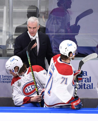 Jul 7, 2021; Tampa, Florida, USA; Montreal Canadiens head coach Dominique Ducharme looks on during the first period in game five of the 2021 Stanley Cup Final against the Tampa Bay Lightning at Amalie Arena. Mandatory Credit: Douglas DeFelice-USA TODAY Sports