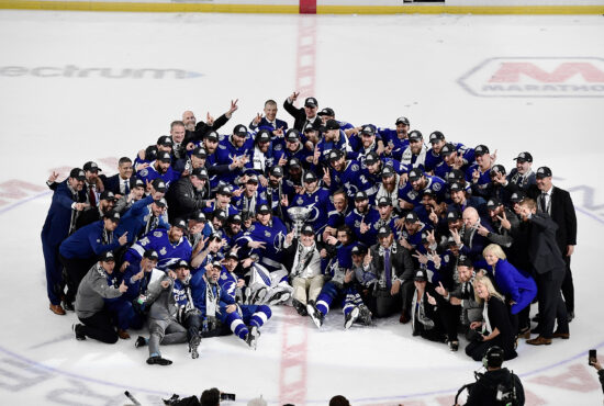 Jul 7, 2021; Tampa, Florida, USA; Tampa Bay Lightning pose for a photo with the Stanley Cup after the Lightning defeated the Montreal Canadiens 1-0 in game five to win the 2021 Stanley Cup Final at Amalie Arena. Mandatory Credit: Douglas DeFelice-USA TODAY Sports